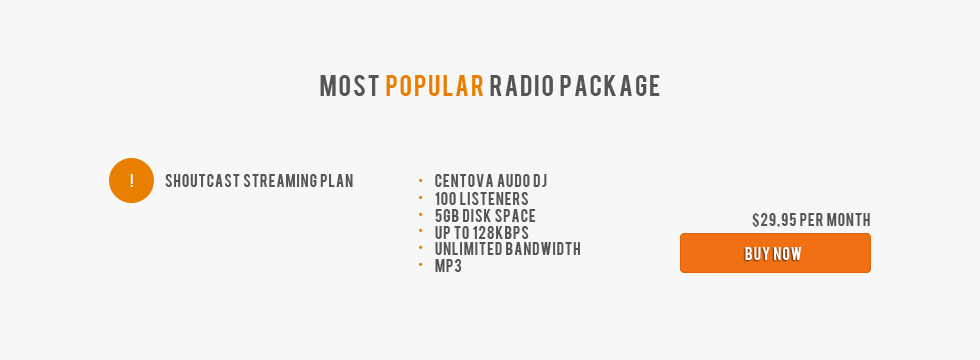 Most popular radio package