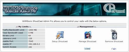 WHMSonic control panel